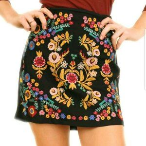 Umgee Floral Embroidered Black Skirt - Size Small